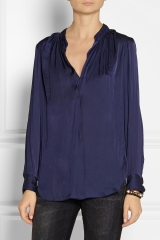 Crinkle effect satin blouse by Raquel Allegra at Net A Porter