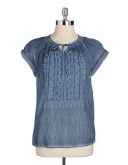 Crinkle gauze top by Calvin Klein at Lord & Taylor