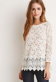 Crochet-Trimmed Lace Top  Forever 21 - 2000154643 at Forever 21