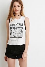Crochet-Trimmed Romantique Graphic Tank  Forever 21 - 2000130427 at Forever 21