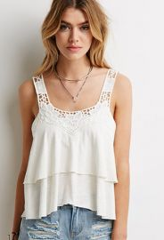 Crochet-Trimmed Tiered Top  Forever 21 - 2049258219 at Forever 21