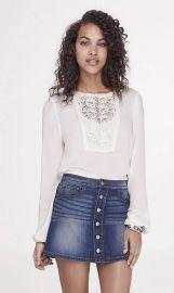 Crochet lace bib blouse at Express