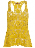 Crochet top in yellow at Dorothy Perkins