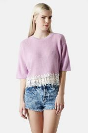 Crocheted Hem Crop Sweater Juniors at Nordstrom Rack