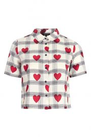 Crop Heart Check Shirt at Topshop