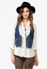 Cropped Denim Vest at Forever 21