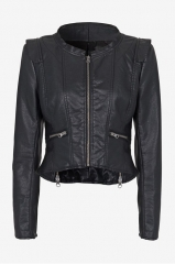 Cropped Leather Jacket at French Connection
