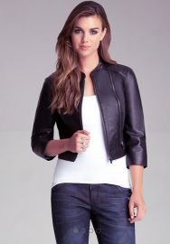 Cropped Leather Jacket at Bebe