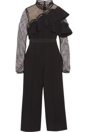 Cropped Ruffled Guipure Lace and Crepe jumpsuit by Self Portrait at Net A Porter