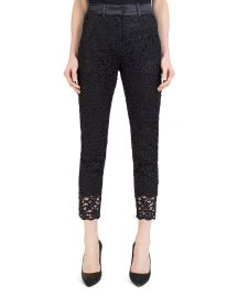 Cropped Satin-Waist Lace Pants The Kooples at Bloomingdales