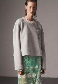 Cropped Sweatshirt with Crystal Brooch at Burberry