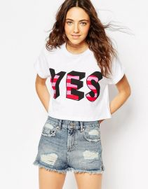 Cropped T-Shirt With Yes Print at Asos