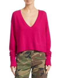 Cropped Wool & Cashmere V-Neck Sweater at Saks Fifth Avenue
