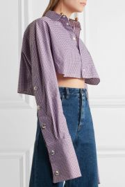 Cropped checked cotton-poplin shirt at Net A Porter