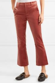 Cropped cotton-blend velvet flared pants at Net A Porter