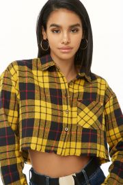 Cropped flannel shirt at Forever 21