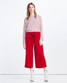 Cropped flowing culottes at Zara
