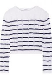Cropped striped open-knit merino wool sweater at The Outnet