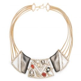 Crystal Ecrusted Mosaic Lace Bib Necklace at Alexis Bittar