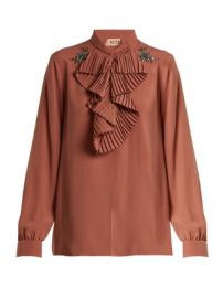 Crystal-embellished ruffled-front crepe blouse at Matches