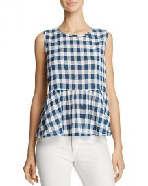 Current Elliott The Gingham Peplum Top x at Bloomingdales