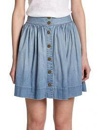 CurrentElliott - Lolipop Flared Chambray Skirt at Saks Fifth Avenue