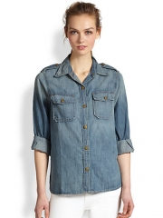 CurrentElliott - The Perfect Studded Collar Denim Shirt at Saks Fifth Avenue