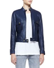 CurrentElliott Leather Front-Zip Moto Jacket at Neiman Marcus