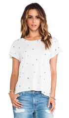 CurrentElliott The Crew Neck Tee in Sugar w Navy Mini Stars  REVOLVE at Revolve