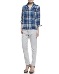 CurrentElliott The Perfect Shirt Faded Repaired Long-Sleeve Shirt and The Fling Five-Pocket Jeans at Neiman Marcus