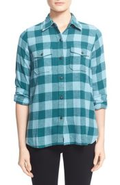 CurrentElliott The Perfect Shirt Plaid Cotton Shirt at Nordstrom