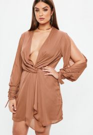 Curve Mocha Twist Front Tie Cuff Dress by Missguided at Missguided