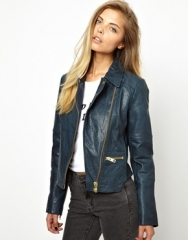 Curved hem leather jacket at Asos