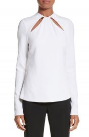 Cushnie et Ochs Ring Detail Cutout Stretch Crepe Blouse at Nordstrom