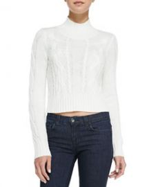 Cusp by Neiman Marcus Cable-Knit Mock Turtleneck Crop Sweater Winter White at Neiman Marcus