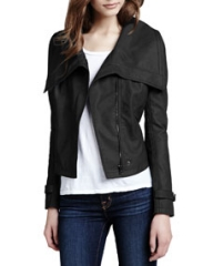 Cusp by Neiman Marcus Faux-Leather Shawl-Collar Jacket at Neiman Marcus