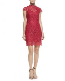 Cusp by Neiman Marcus Short-Sleeve Scalloped Lace Dress at Neiman Marcus