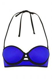 Cut-Out Long-Line Bikini Top at Topshop
