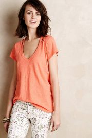 Cut-Out Slub Tee in Coral at Anthropologie