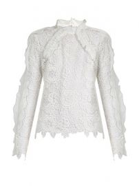 Cut-out floral-lace ruffled top at Matches