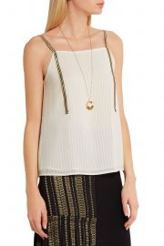 Cutout metallic-trimmed silk camisole by Zeus + Dione at The Outnet