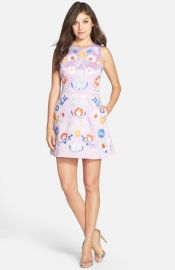 Cynthia Rowley Embroidered Satin Fit and Flare Dress in Orchid at Nordstrom