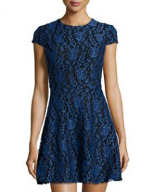 Cynthia Steffe Delphine Lace Fit-and-Flare Dress Blue at Last Call