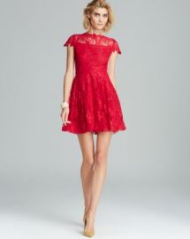 Cynthia Steffe Dress - Illusion Neckline Cap Sleeve Fit and Flare Hannah at Bloomingdales
