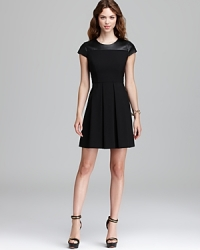 Cynthia Steffe Faux Leather Shoulder Dress at Bloomingdales
