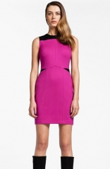Cynthia Steffe Isla Faux Leather andamp Ponte Knit Sheath Dress at Nordstrom