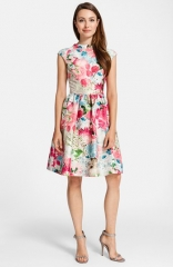 Cynthia Steffe Print Jacquard Fit andamp Flare Dress at Nordstrom