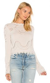 DEREK LAM 10 CROSBY Pointelle Crewneck Sweater in Cream from Revolve com at Revolve