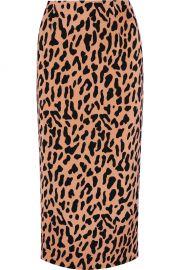DIANE VON FURSTENBERG Leopard-print crepe de chine midi skirt at Net A Porter