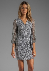DIANE VON FURSTENBERG Sigourney Dress in Tweed Dash Black at Revolve